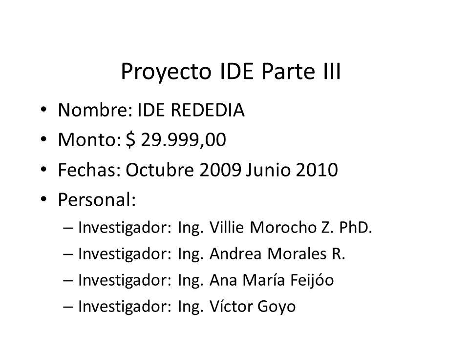 Proyecto IDE Parte III Nombre: IDE REDEDIA Monto: $ 29.999,00