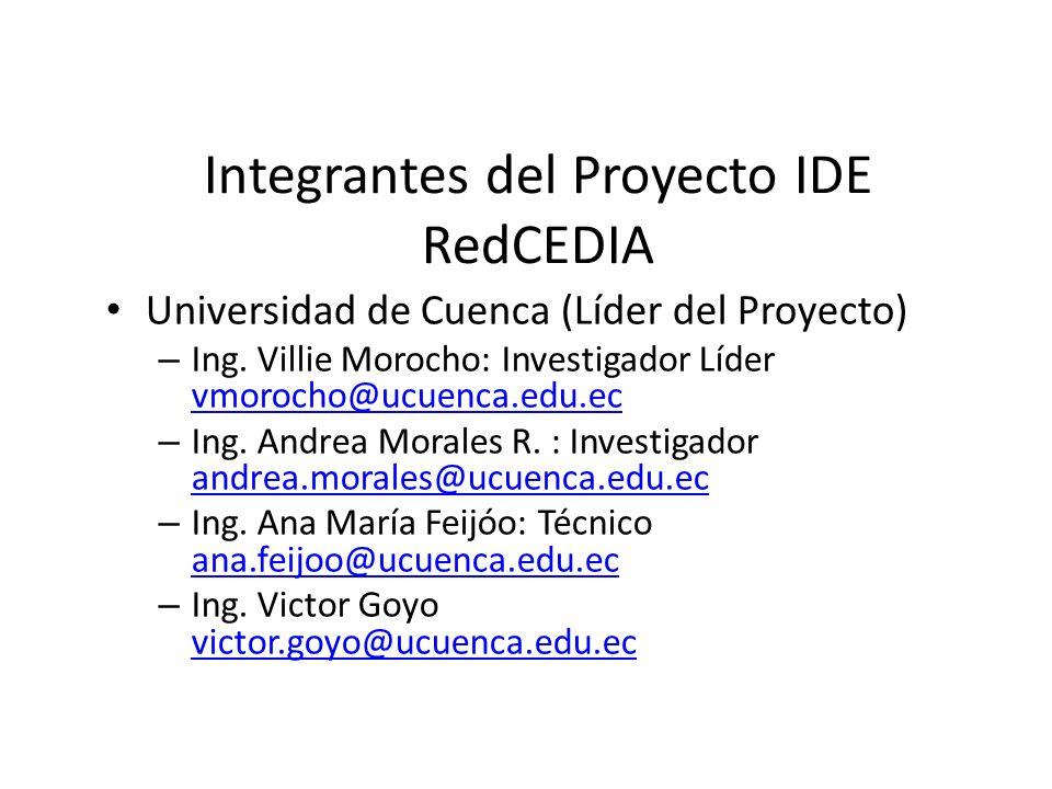 Integrantes del Proyecto IDE RedCEDIA