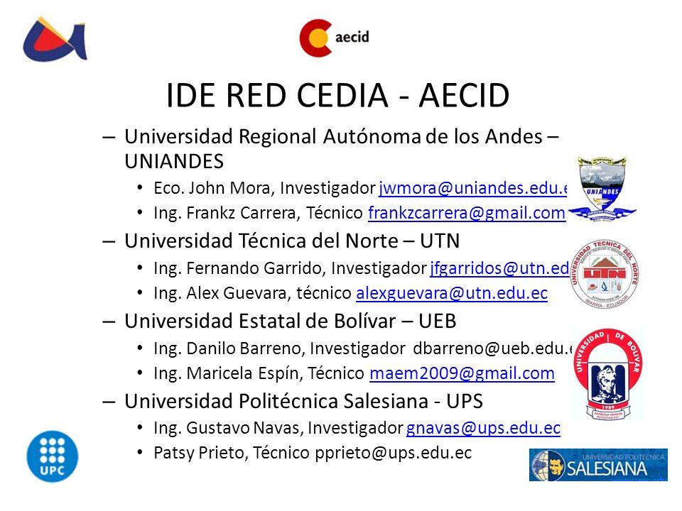 IDE RED CEDIA - AECID Universidad Regional Autónoma de los Andes – UNIANDES. Eco. John Mora, Investigador jwmora@uniandes.edu.ec.
