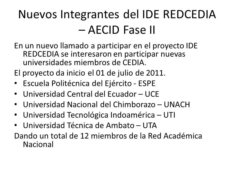 Nuevos Integrantes del IDE REDCEDIA – AECID Fase II