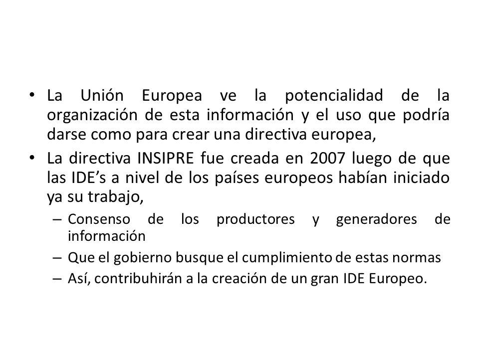 La Unión Europea ve la potencialidad de la organización de esta información y el uso que podría darse como para crear una directiva europea,