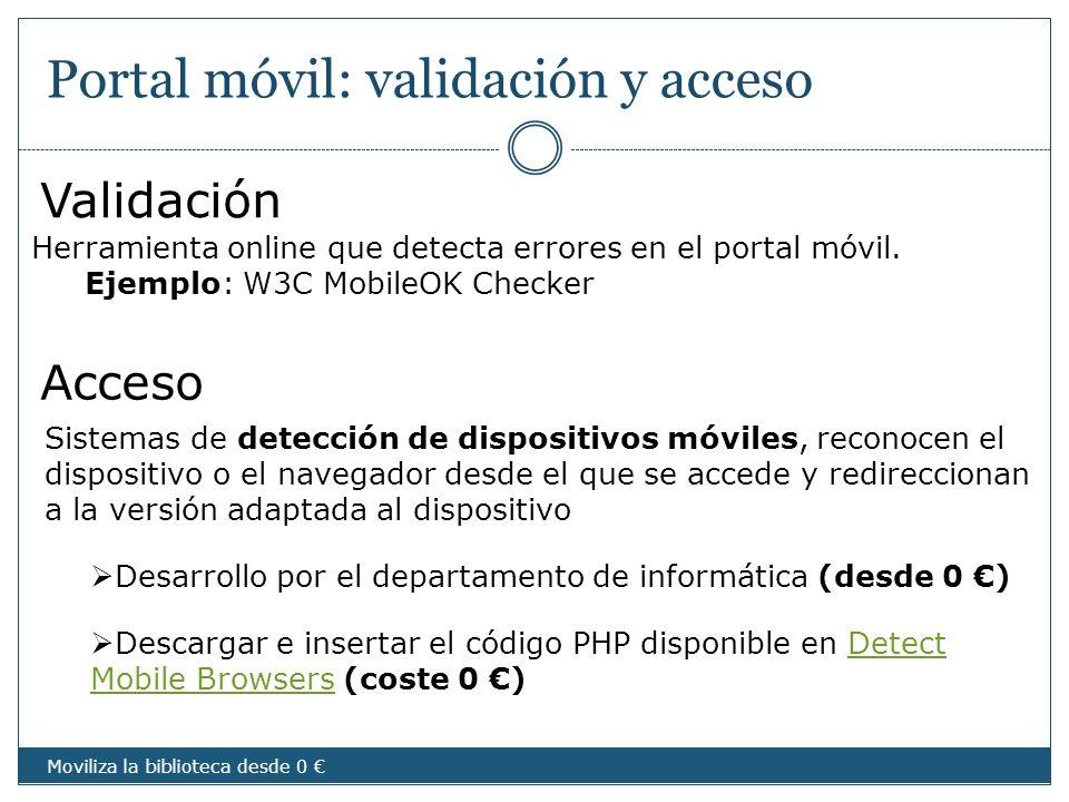 Portal móvil: validación y acceso