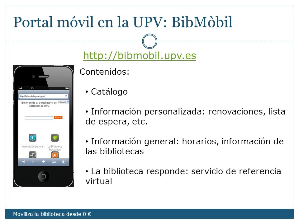 Portal móvil en la UPV: BibMòbil