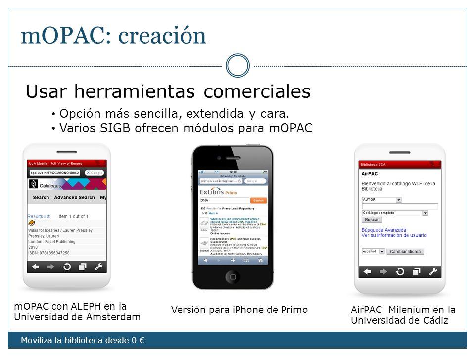 mOPAC: creación Usar herramientas comerciales