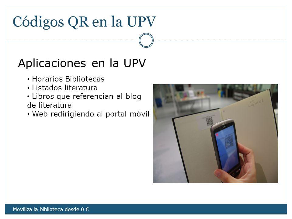 Códigos QR en la UPV Aplicaciones en la UPV Horarios Bibliotecas