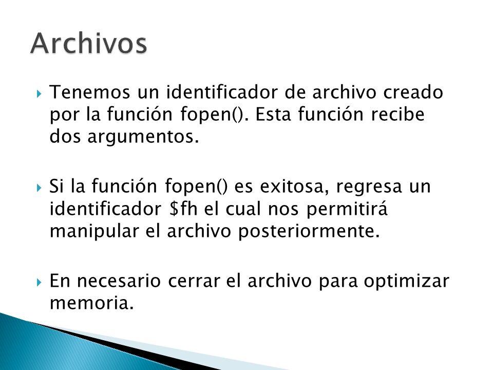 Archivos Tenemos un identificador de archivo creado por la función fopen(). Esta función recibe dos argumentos.
