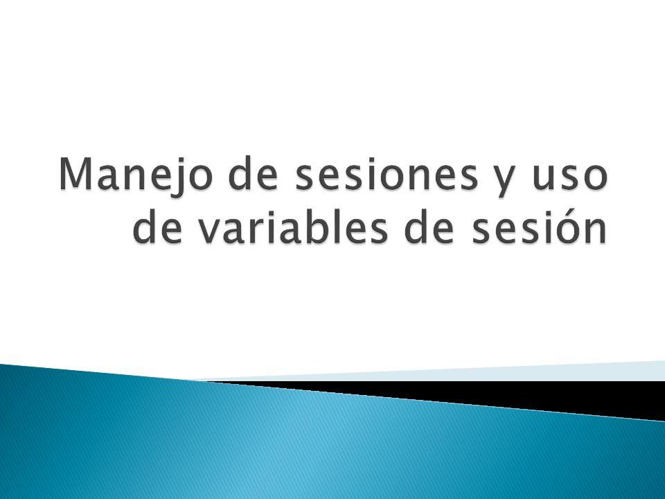 Manejo de sesiones y uso de variables de sesión