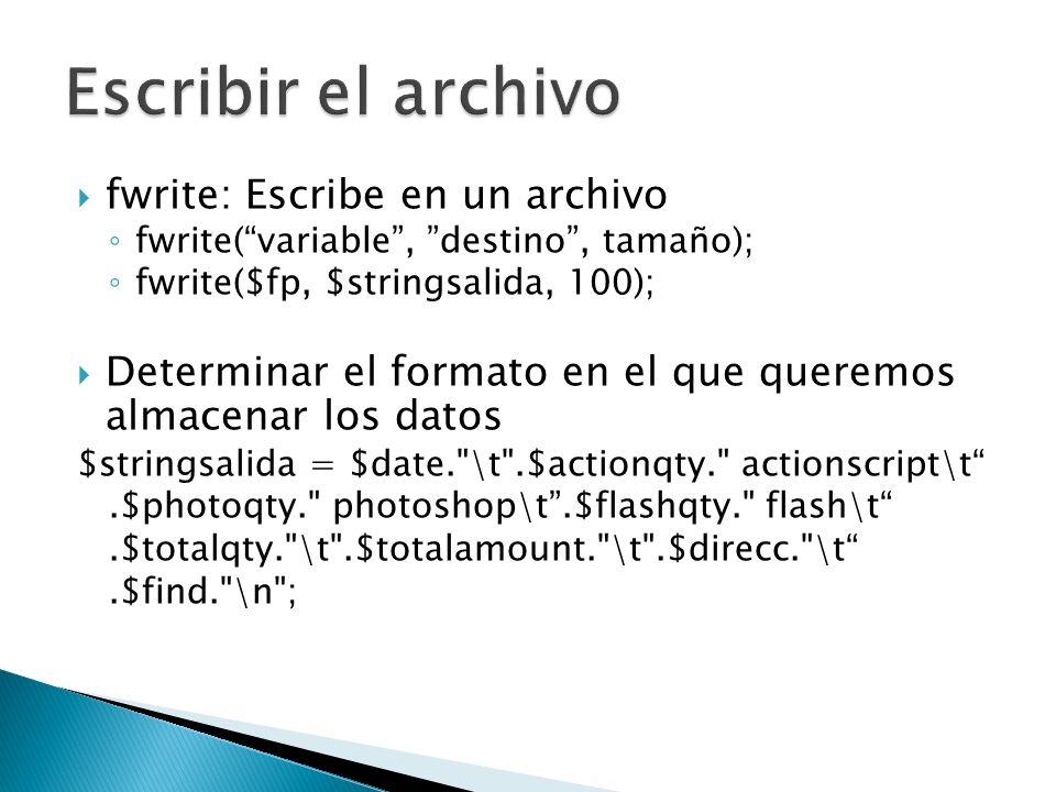 Escribir el archivo fwrite: Escribe en un archivo