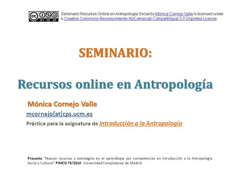SEMINARIO: Recursos online en Antropología