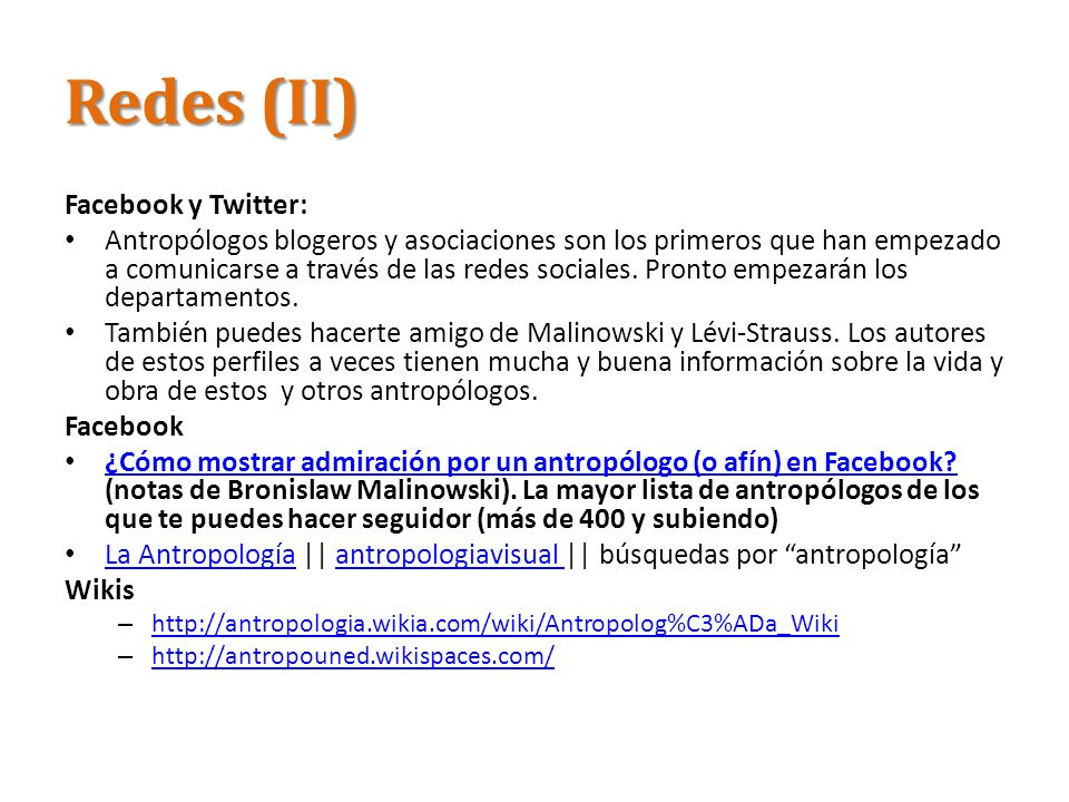 Redes (II) Facebook y Twitter: