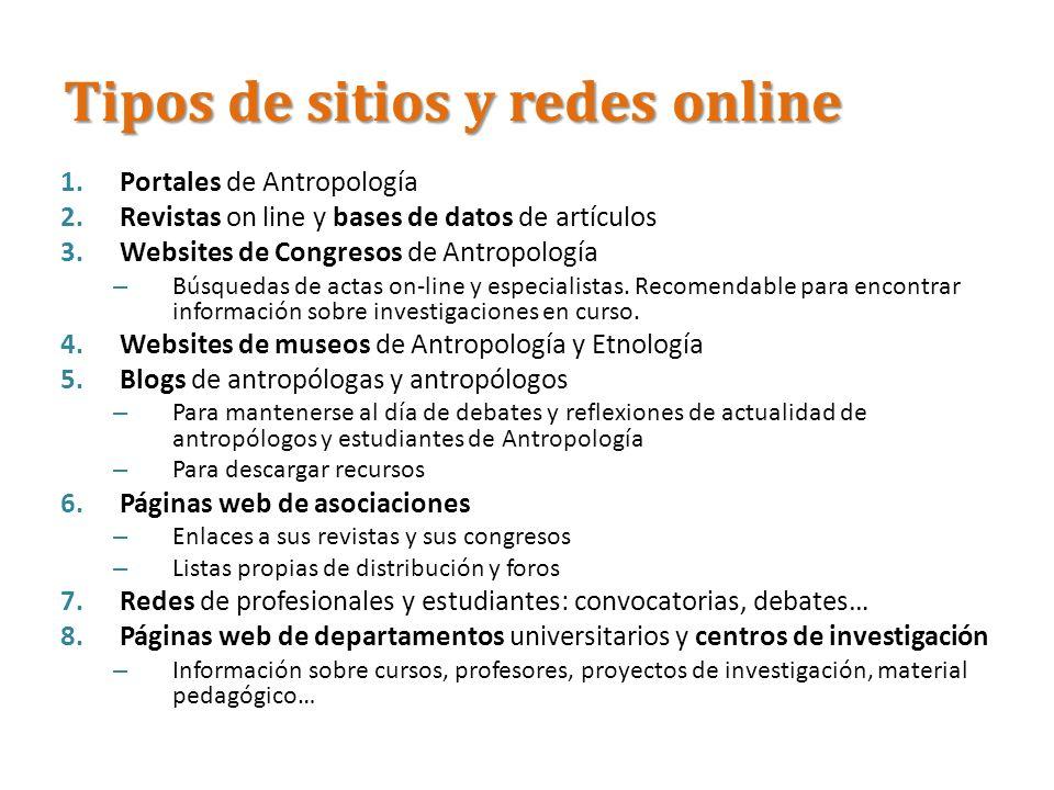 Tipos de sitios y redes online