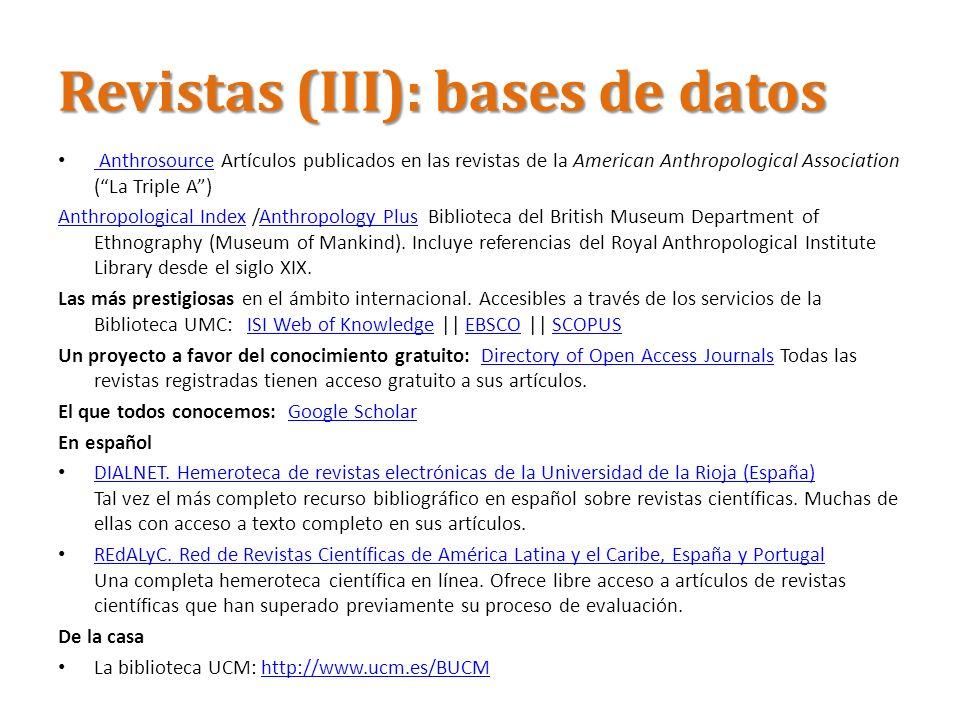 Revistas (III): bases de datos