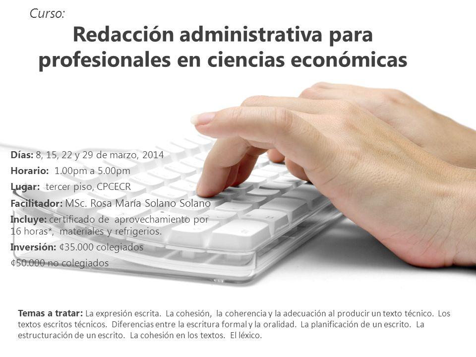 Redacción administrativa para profesionales en ciencias económicas