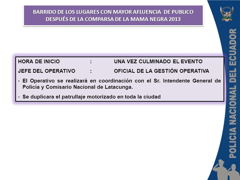 BARRIDO DE LOS LUGARES CON MAYOR AFLUENCIA DE PUBLICO DESPUÉS DE LA COMPARSA DE LA MAMA NEGRA 2013