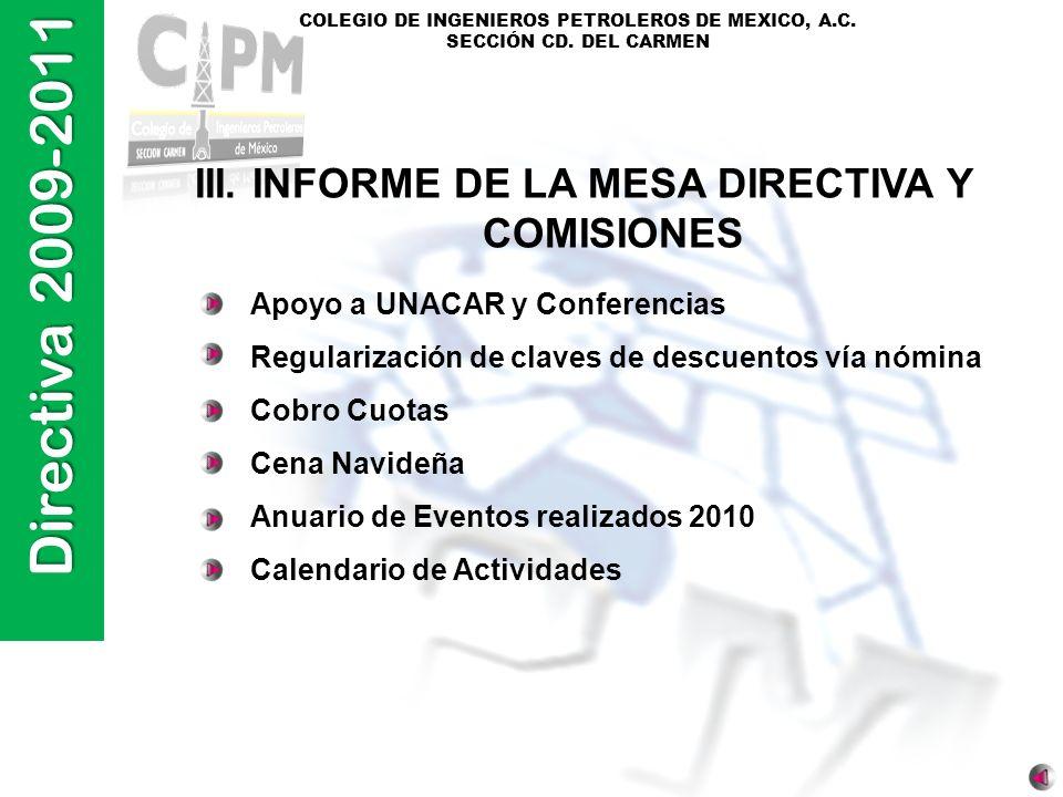 III. INFORME DE LA MESA DIRECTIVA Y COMISIONES