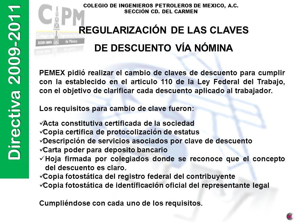 REGULARIZACIÓN DE LAS CLAVES DE DESCUENTO VÍA NÓMINA