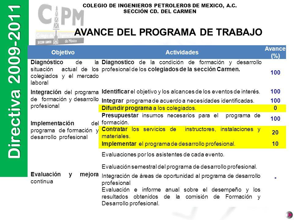AVANCE DEL PROGRAMA DE TRABAJO