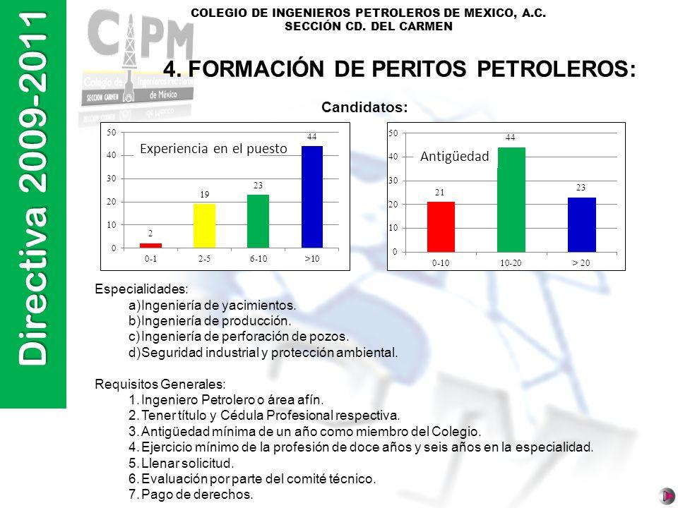 4. FORMACIÓN DE PERITOS PETROLEROS: