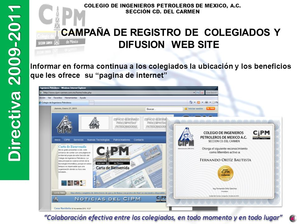 CAMPAÑA DE REGISTRO DE COLEGIADOS Y DIFUSION WEB SITE