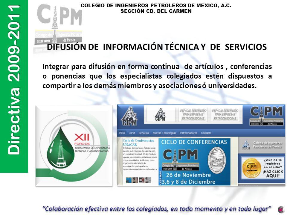 DIFUSIÓN DE INFORMACIÓN TÉCNICA Y DE SERVICIOS