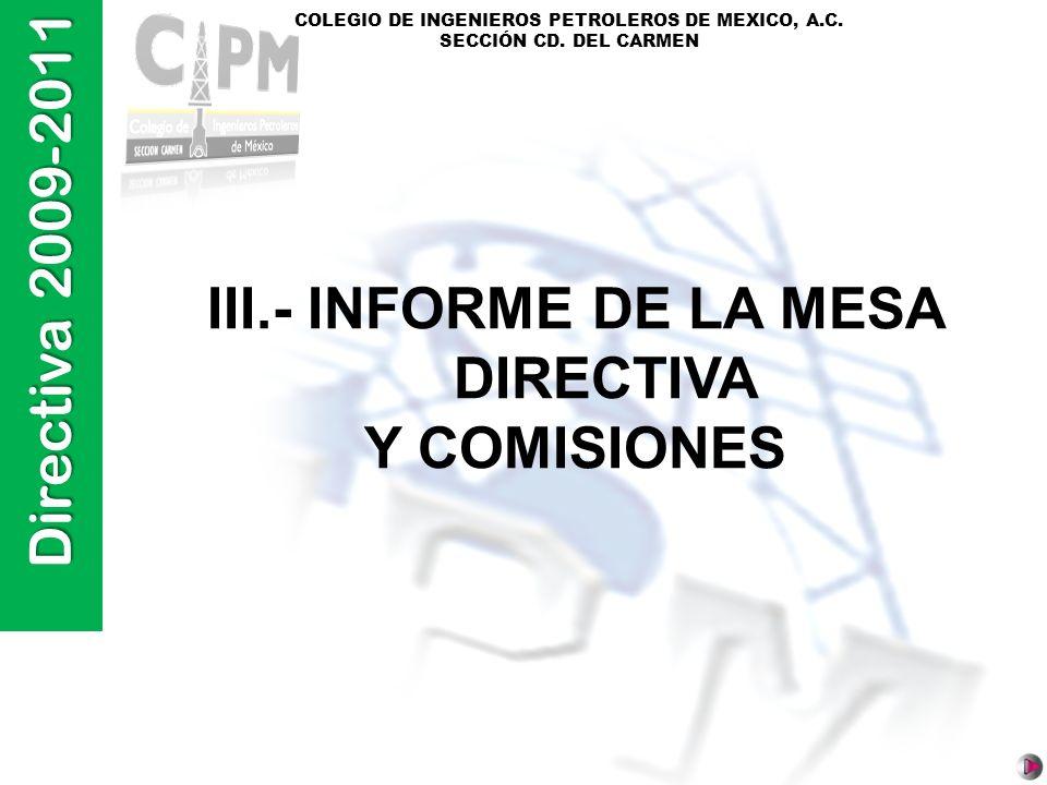 III.- INFORME DE LA MESA DIRECTIVA