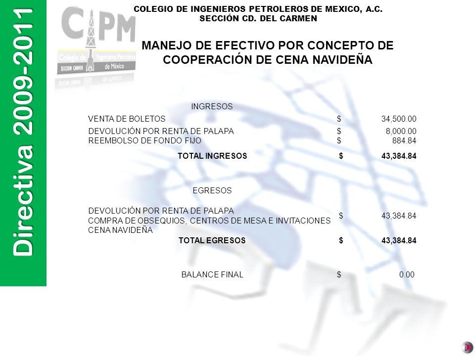 MANEJO DE EFECTIVO POR CONCEPTO DE COOPERACIÓN DE CENA NAVIDEÑA