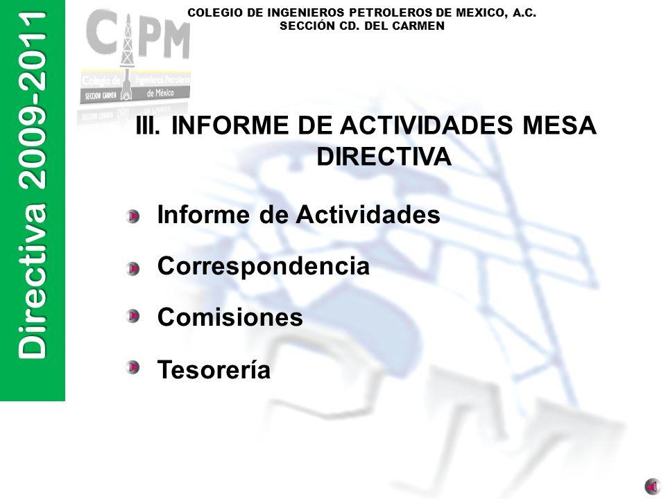 III. INFORME DE ACTIVIDADES MESA DIRECTIVA