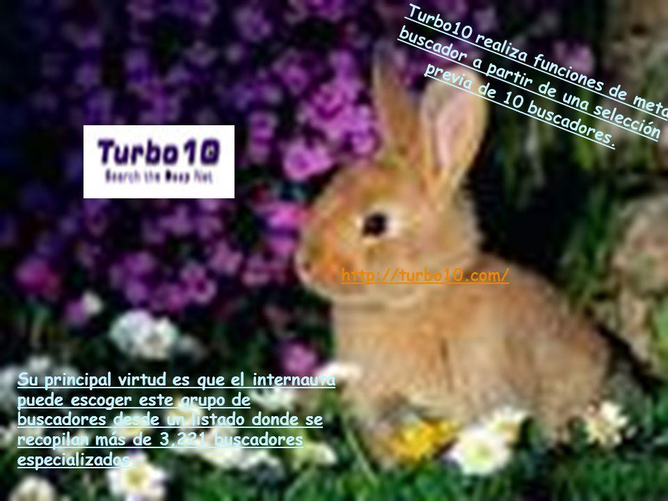 Turbo10 realiza funciones de meta buscador a partir de una selección previa de 10 buscadores.