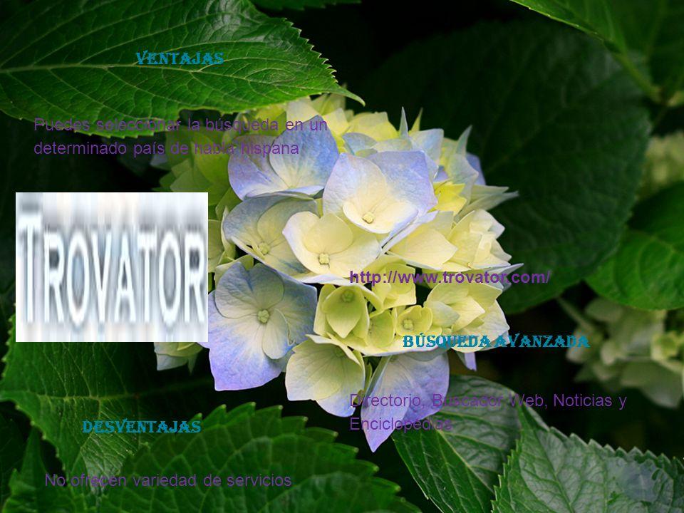 VENTAJASPuedes seleccionar la búsqueda en un determinado país de habla hispana. http://www.trovator.com/