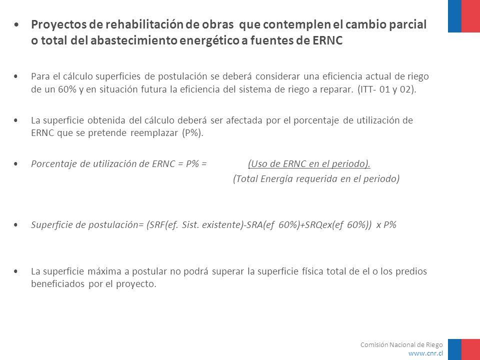 Proyectos de rehabilitación de obras que contemplen el cambio parcial o total del abastecimiento energético a fuentes de ERNC