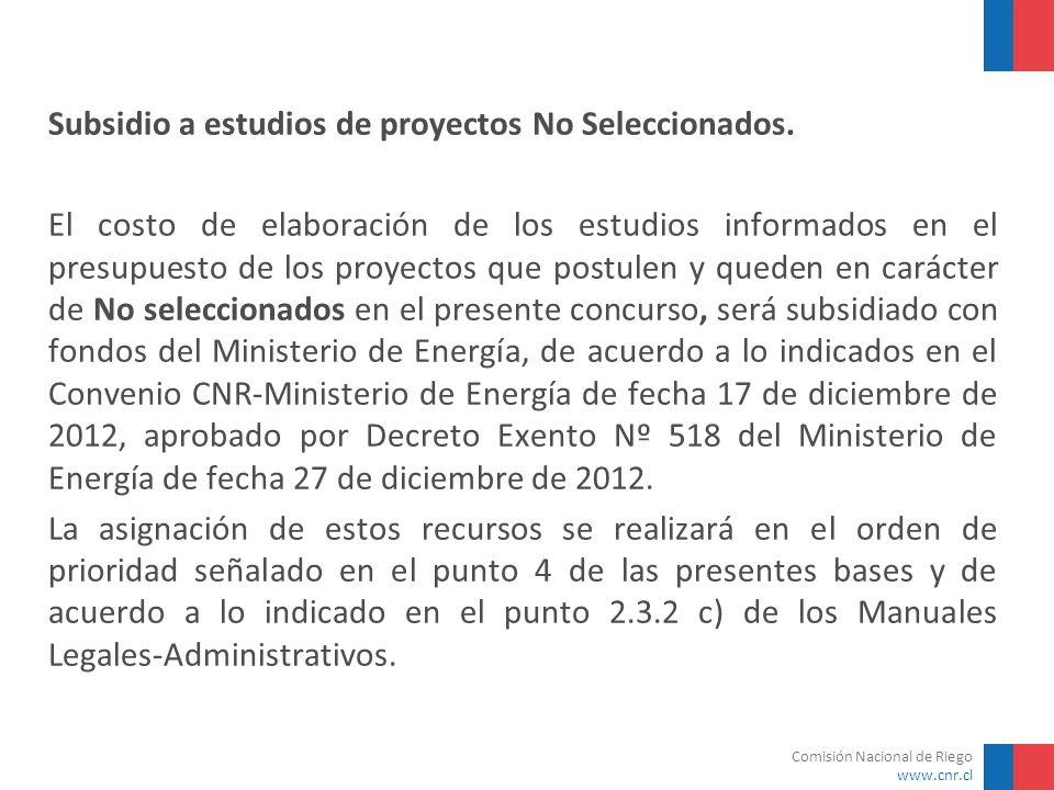 Subsidio a estudios de proyectos No Seleccionados.