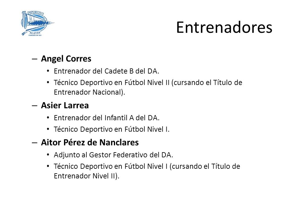Entrenadores Angel Corres Asier Larrea Aitor Pérez de Nanclares