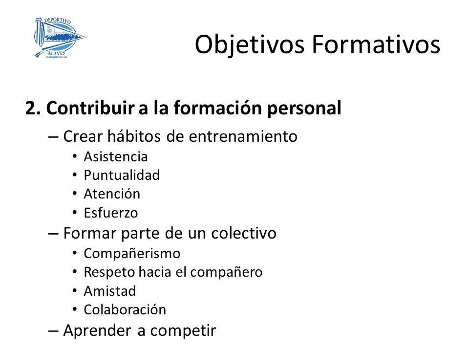 Objetivos Formativos 2. Contribuir a la formación personal