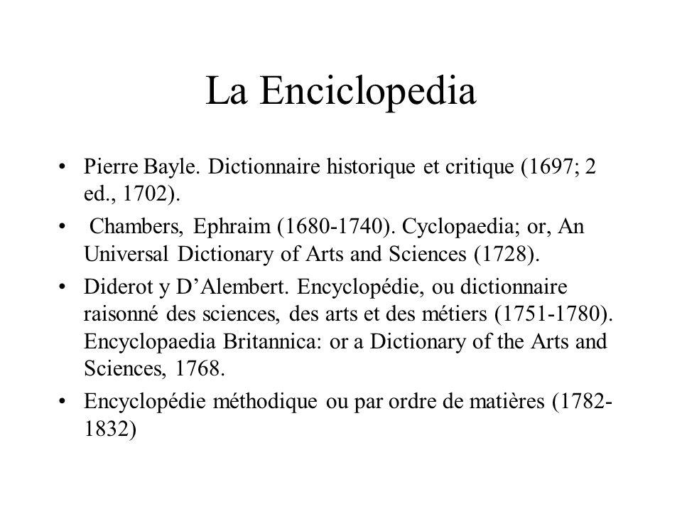 La EnciclopediaPierre Bayle. Dictionnaire historique et critique (1697; 2 ed., 1702).