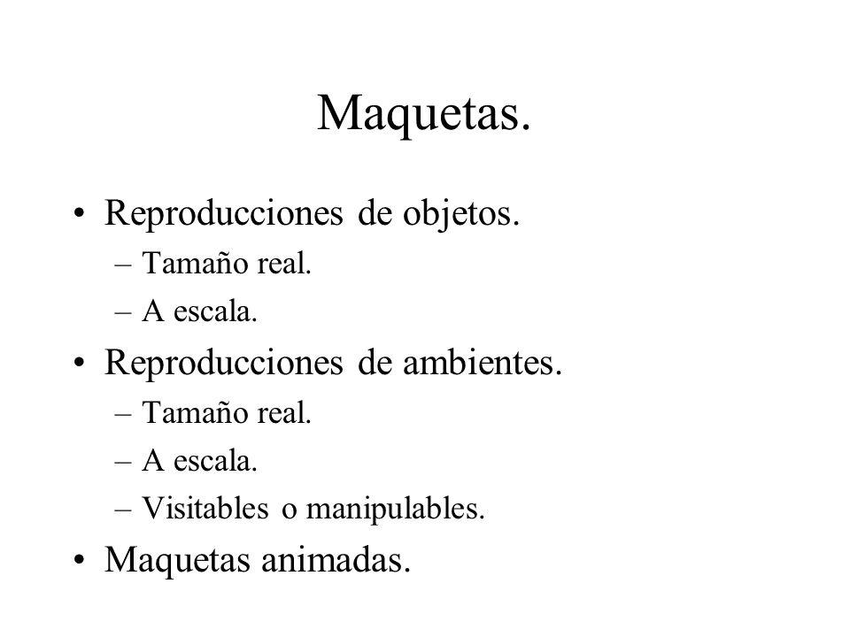 Maquetas. Reproducciones de objetos. Reproducciones de ambientes.