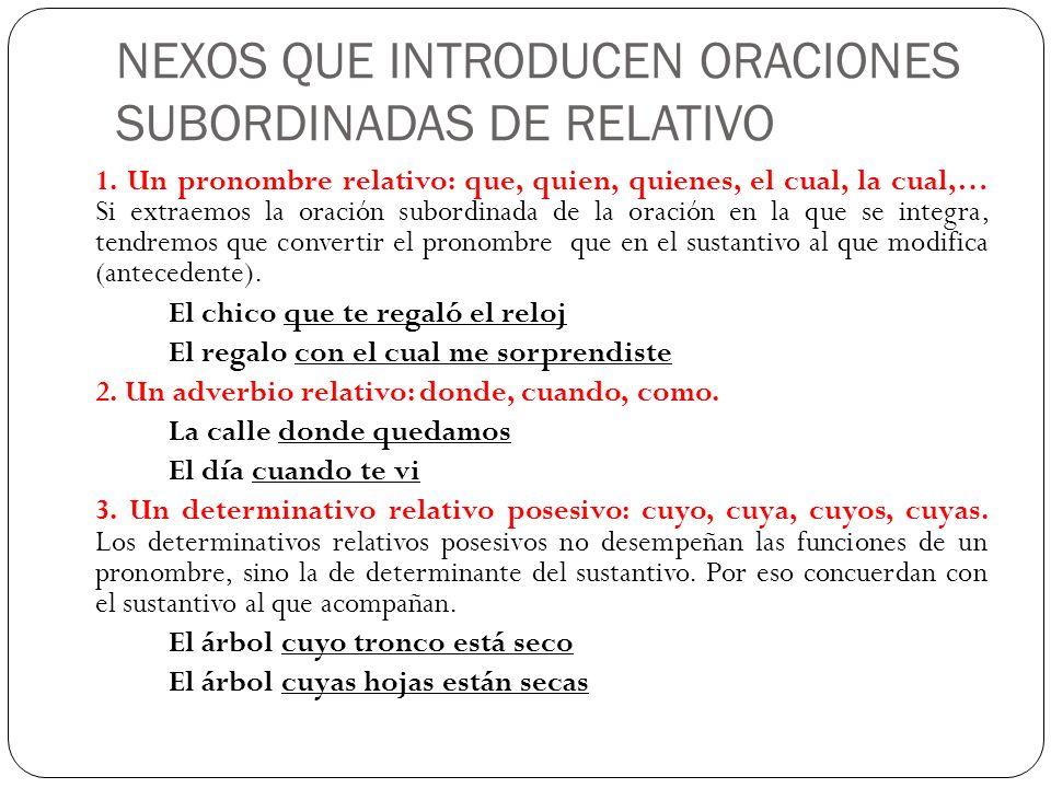 NEXOS QUE INTRODUCEN ORACIONES SUBORDINADAS DE RELATIVO
