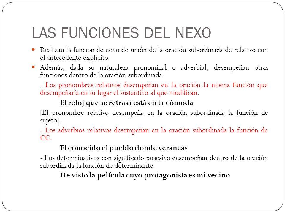 LAS FUNCIONES DEL NEXO Realizan la función de nexo de unión de la oración subordinada de relativo con el antecedente explícito.