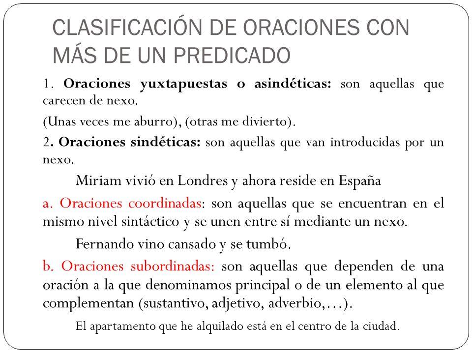 CLASIFICACIÓN DE ORACIONES CON MÁS DE UN PREDICADO