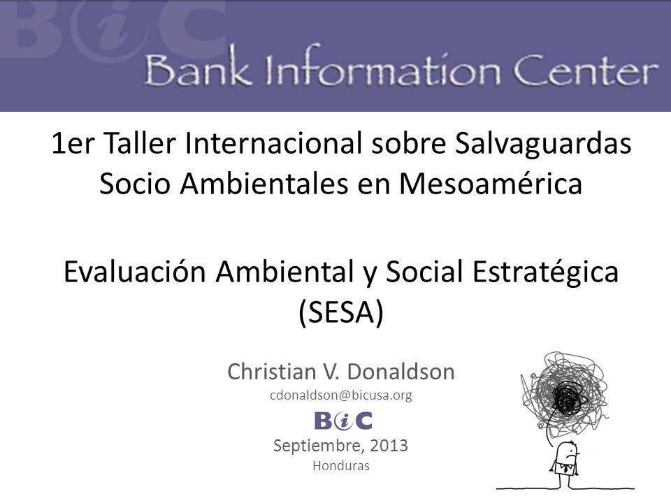 1er Taller Internacional sobre Salvaguardas Socio Ambientales en Mesoamérica Evaluación Ambiental y Social Estratégica (SESA)