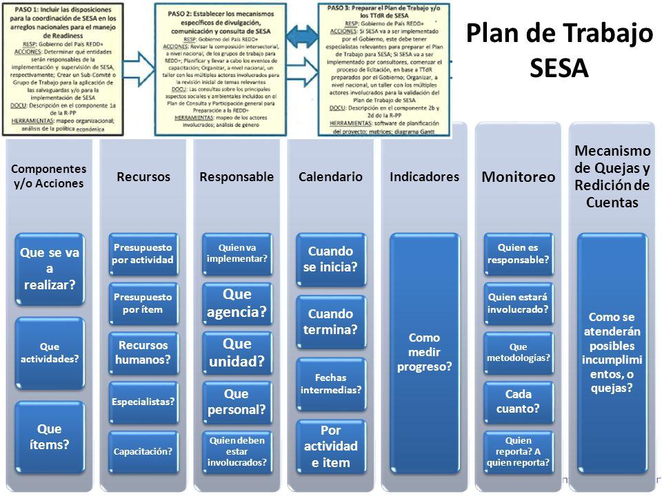 Plan de Trabajo SESA Monitoreo Que agencia Que unidad