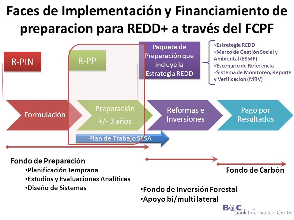 Faces de Implementación y Financiamiento de preparacion para REDD+ a través del FCPF