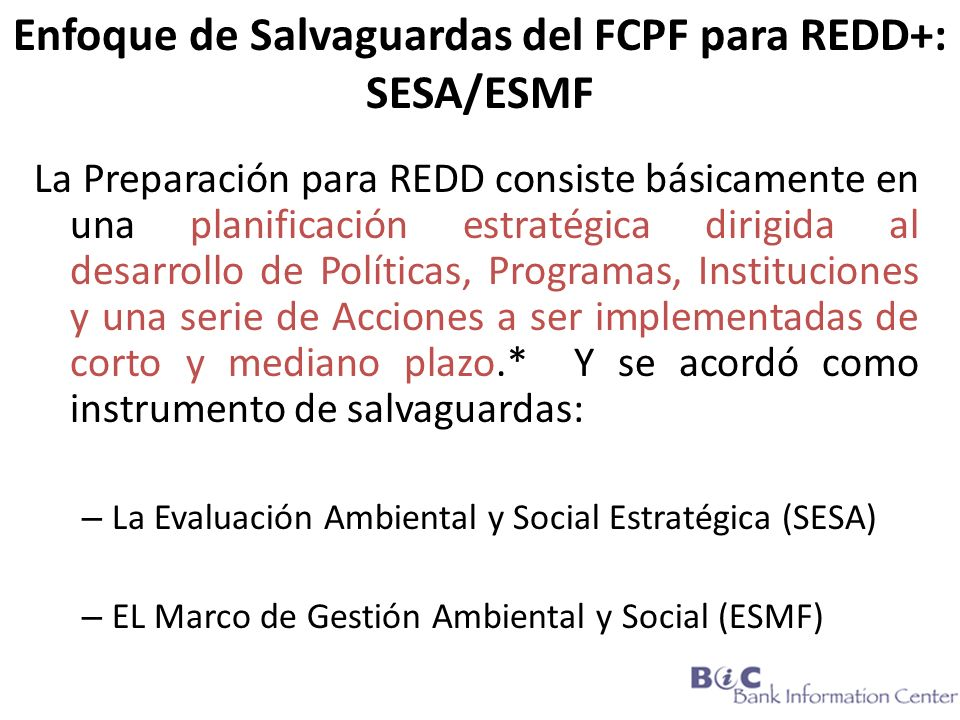 Enfoque de Salvaguardas del FCPF para REDD+: SESA/ESMF