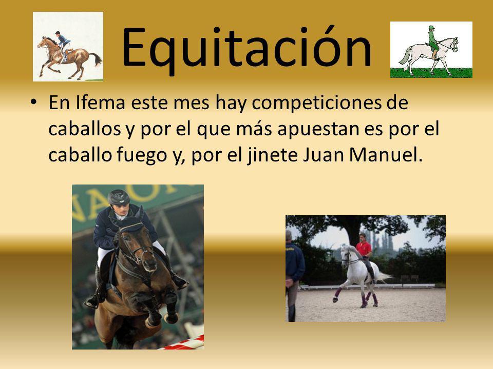 Equitación En Ifema este mes hay competiciones de caballos y por el que más apuestan es por el caballo fuego y, por el jinete Juan Manuel.