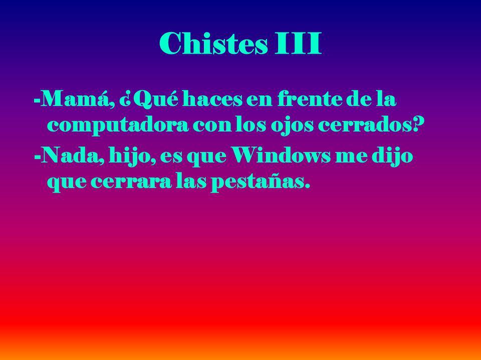 Chistes III -Mamá, ¿Qué haces en frente de la computadora con los ojos cerrados.