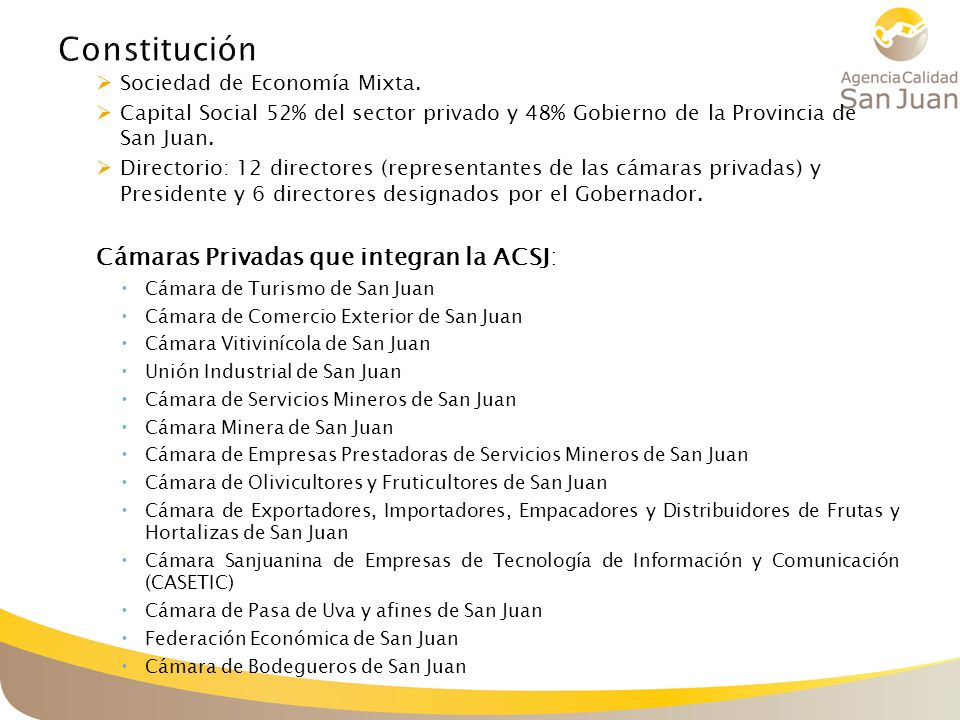 Constitución Cámaras Privadas que integran la ACSJ: