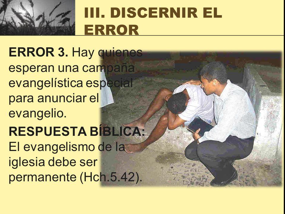 III. DISCERNIR EL ERROR
