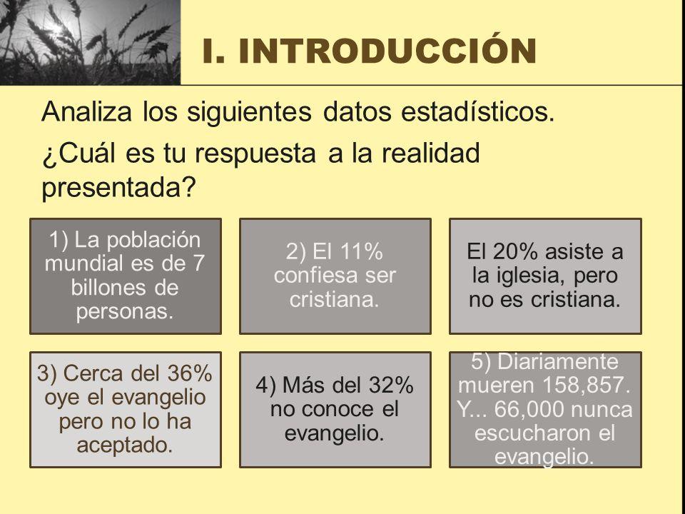 I. INTRODUCCIÓN Analiza los siguientes datos estadísticos. ¿Cuál es tu respuesta a la realidad presentada
