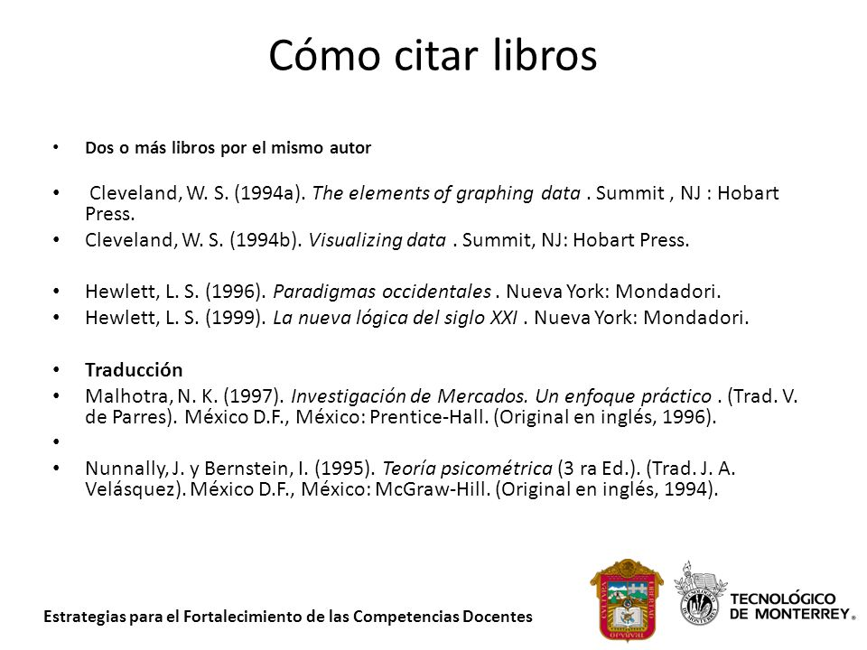 Cómo citar libros Dos o más libros por el mismo autor. Cleveland, W. S. (1994a). The elements of graphing data . Summit , NJ : Hobart Press.