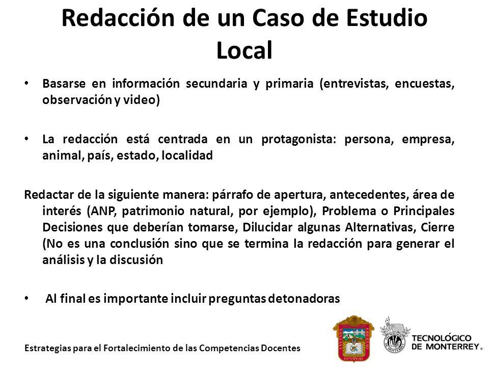 Redacción de un Caso de Estudio Local