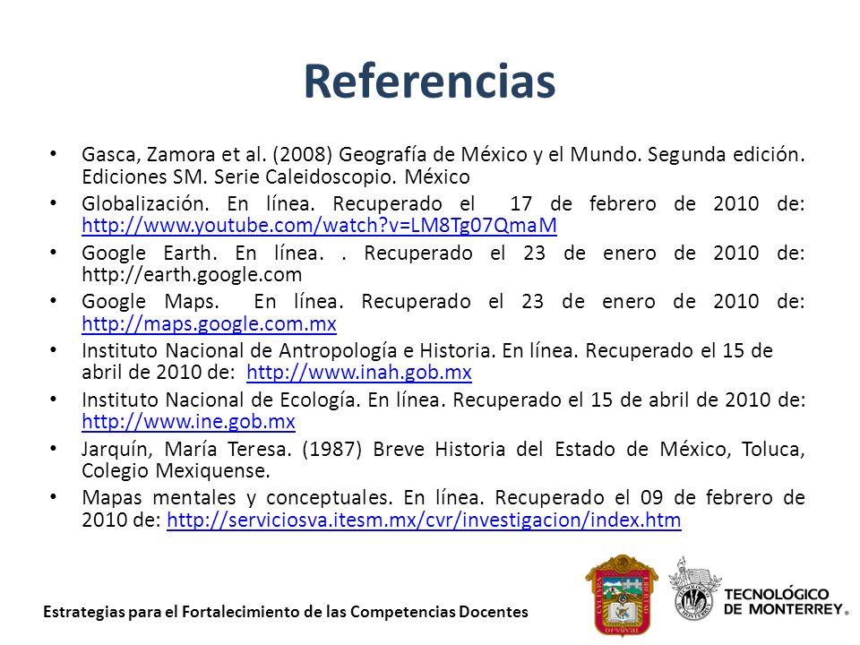 Referencias Gasca, Zamora et al. (2008) Geografía de México y el Mundo. Segunda edición. Ediciones SM. Serie Caleidoscopio. México.